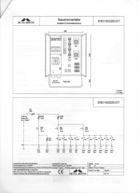 Anschlussverteiler-Endverteilerschrank Typ BVEV verzinkter und verschließbarer Stahlblechschrank, pulverbeschichtet